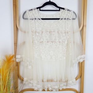 Lace top size S cream boho gypsy floral festival
